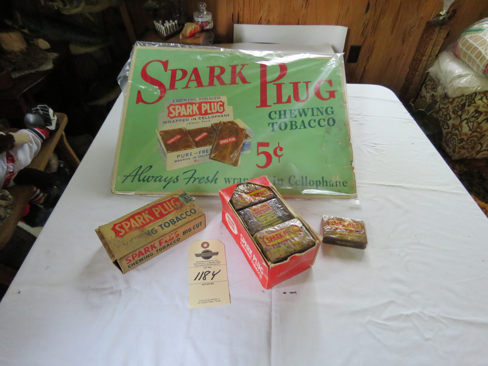 Vintage Spark Plug Chewing Tobacco Display with original Chewing Tobacco - Image 1
