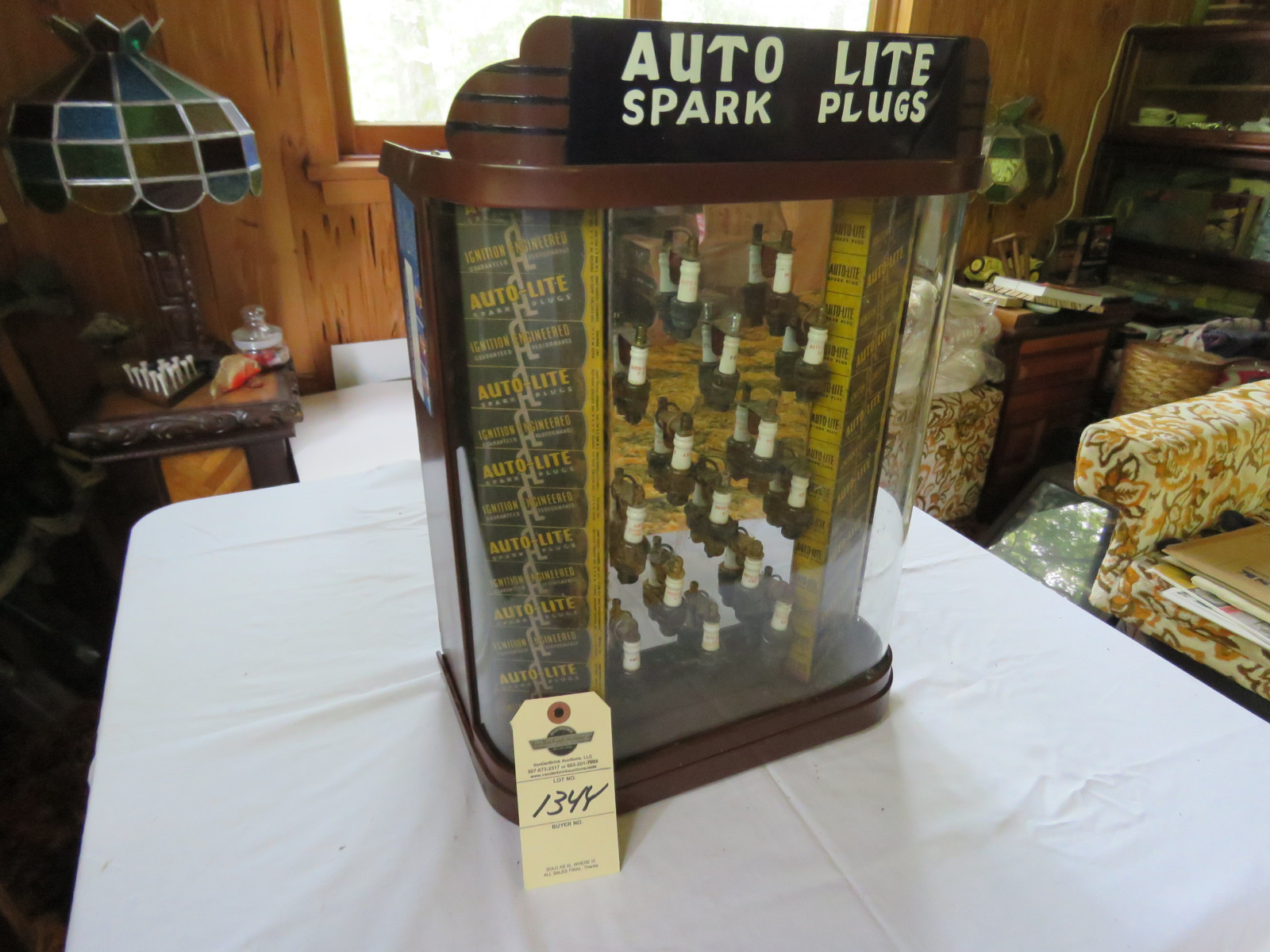 Vintage Auto Lite Spark Plug Metal Display Case - Image 2