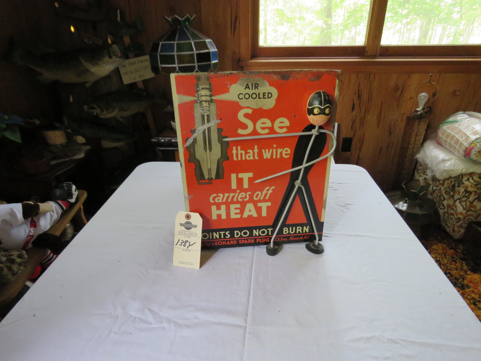 Vintage Leonard Air Cooled Spark Plug Display and Metal Case - Image 1