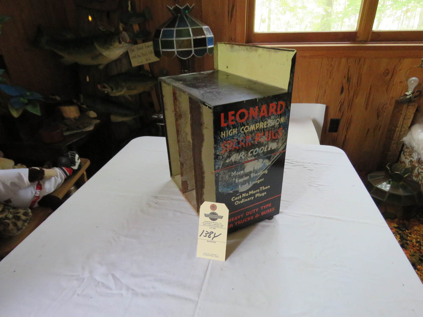 Vintage Leonard Air Cooled Spark Plug Display and Metal Case - Image 2