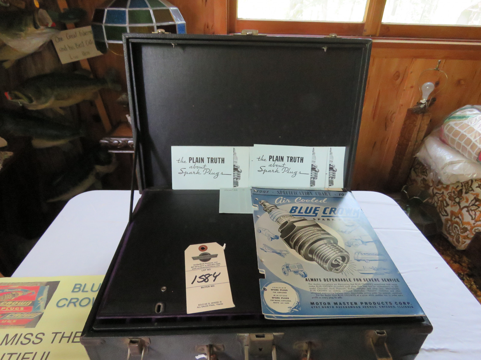 RARE Blue Crown Salesman Sample Display Case and Literature - Image 1