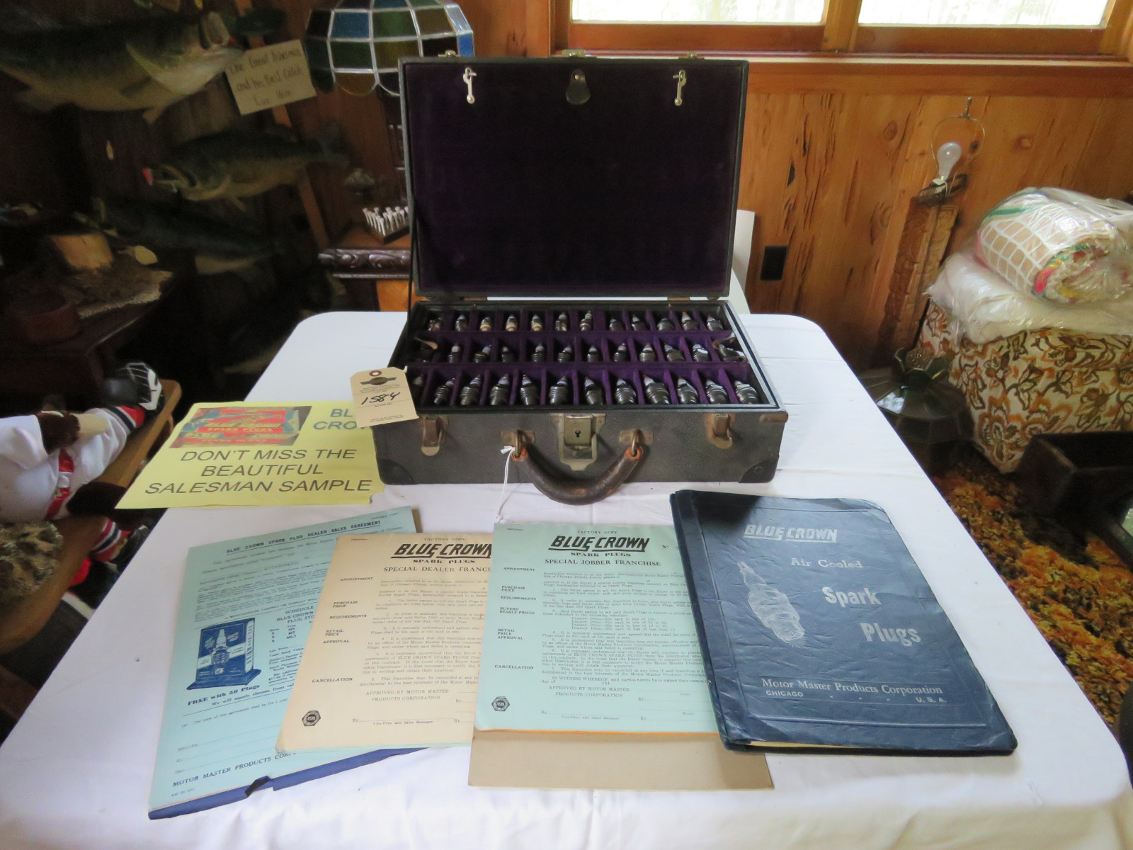 RARE Blue Crown Salesman Sample Display Case and Literature - Image 2