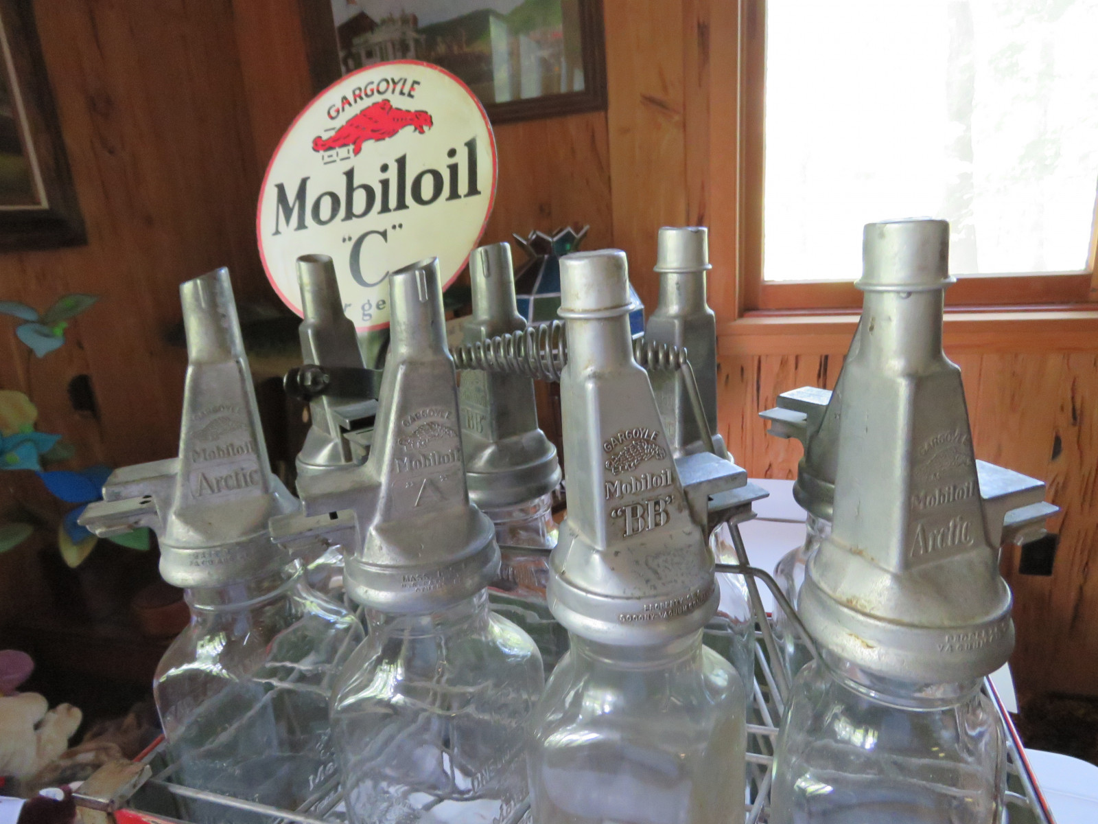 Rare Glass Mobil Oil Bottles in Rack with MobilOil Advertising - Image 2