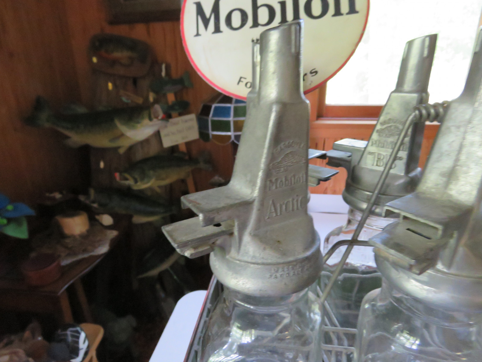 Rare Glass Mobil Oil Bottles in Rack with MobilOil Advertising - Image 3