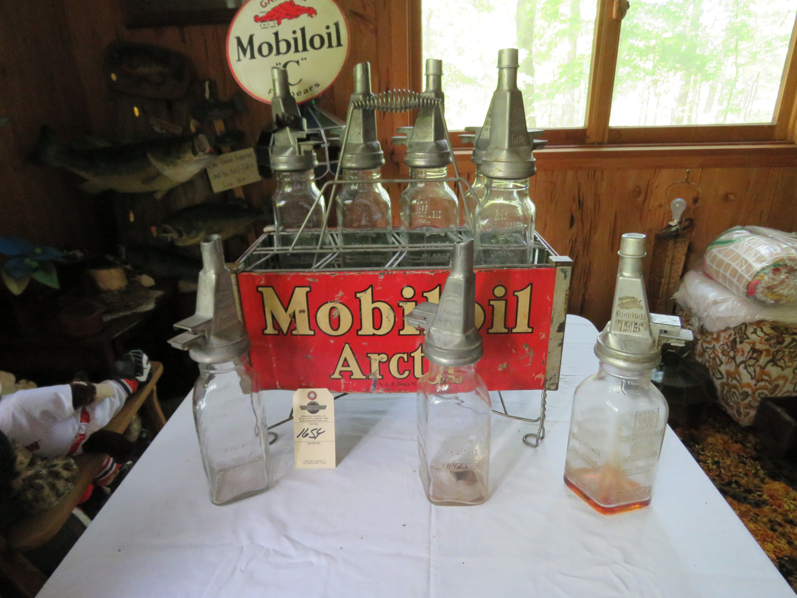 Rare Glass Mobil Oil Bottles in Rack with MobilOil Advertising - Image 4