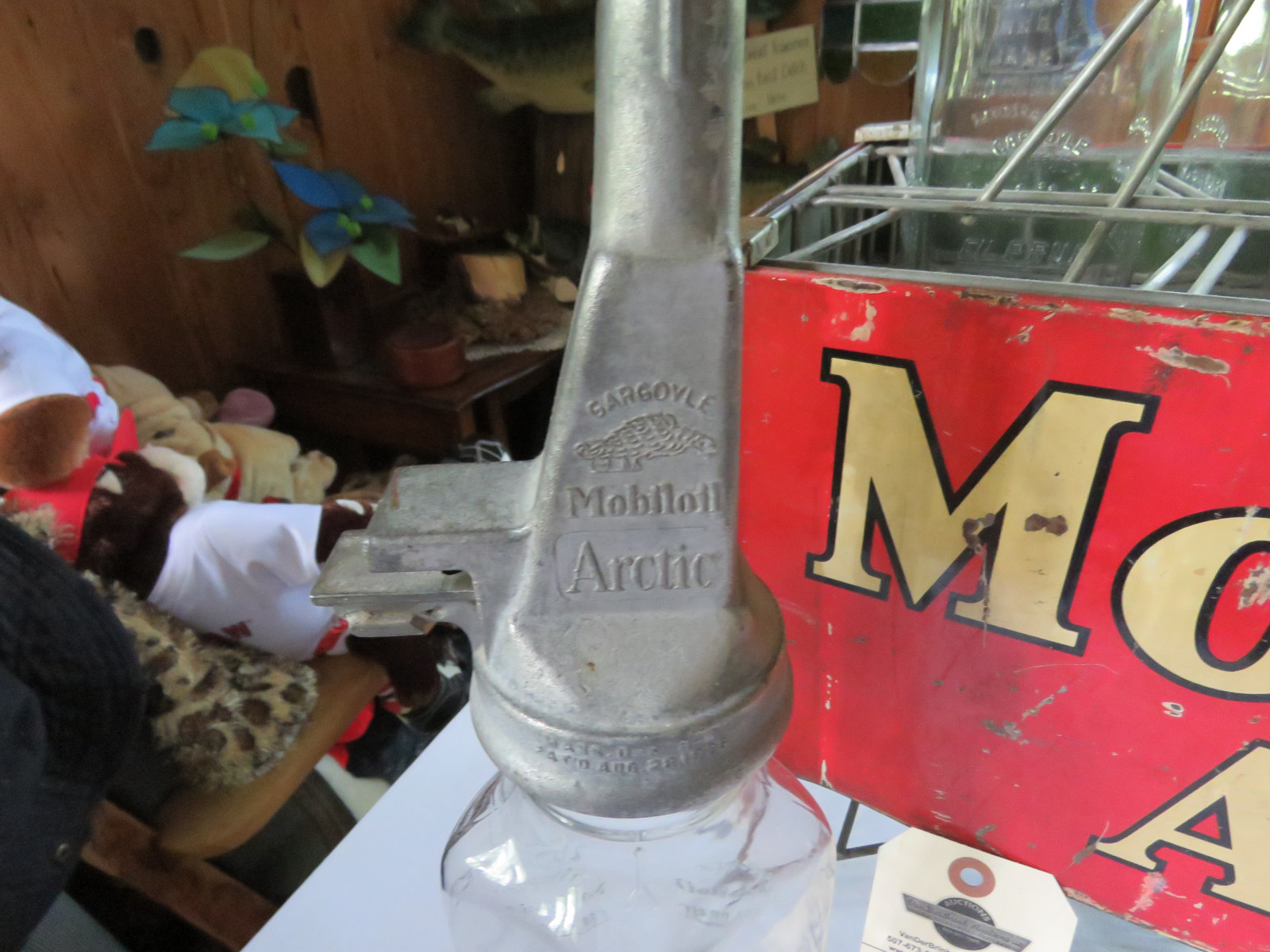 Rare Glass Mobil Oil Bottles in Rack with MobilOil Advertising - Image 5