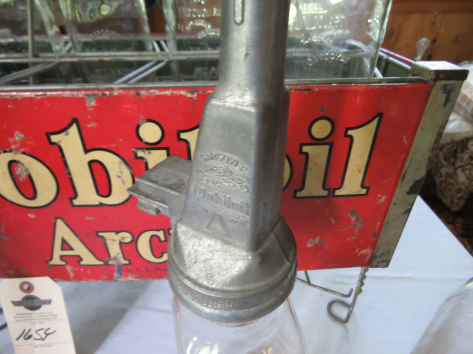 Rare Glass Mobil Oil Bottles in Rack with MobilOil Advertising - Image 6