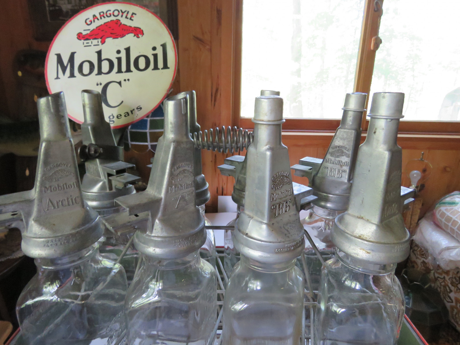 Rare Glass Mobil Oil Bottles in Rack with MobilOil Advertising - Image 7