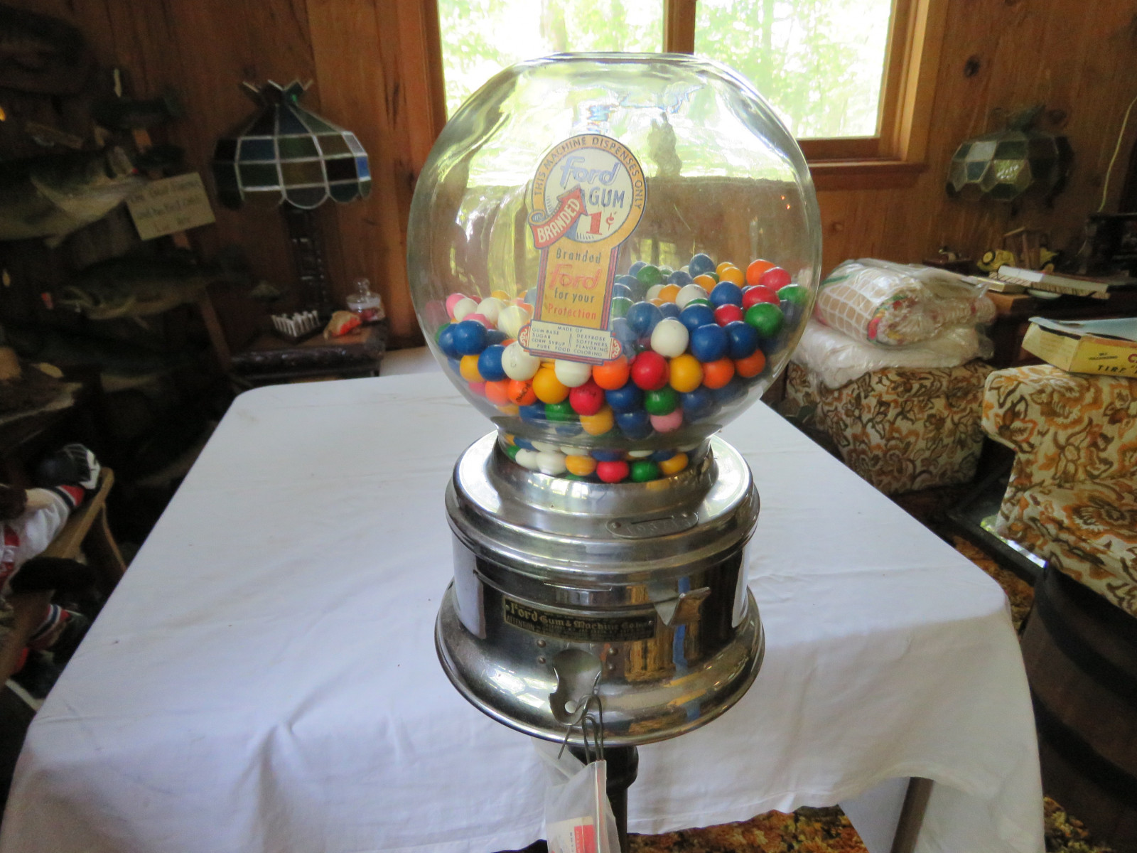 Rare Factory Ford Gumball Machine with Ford papers and Gumballs-Glass - Image 2