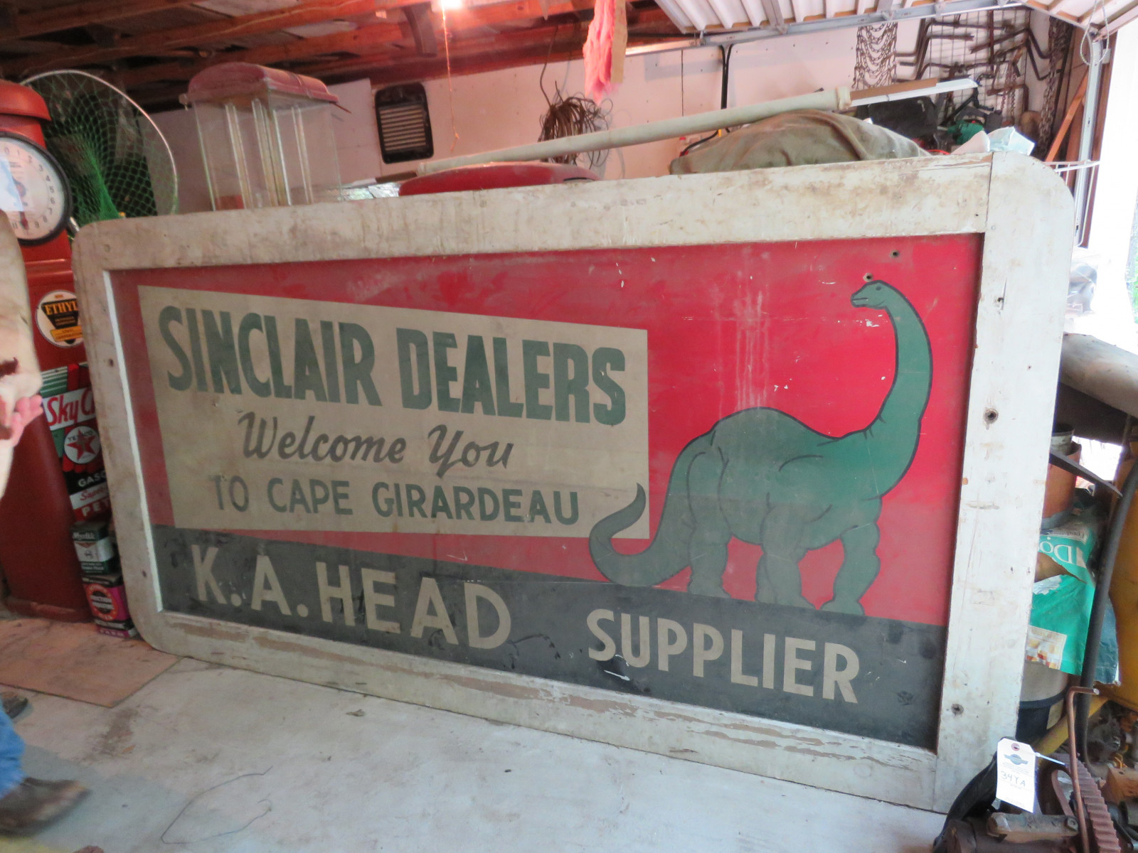 Sinclair Single Sided Painted Tin Billboard 8.5x47.5 inches - Image 1