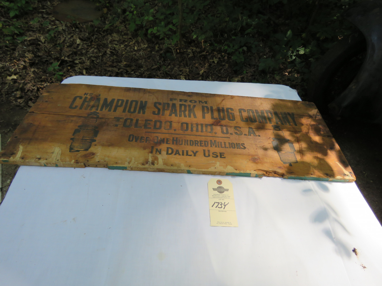 Wood Champion Spark Plugs Sign - Image 1