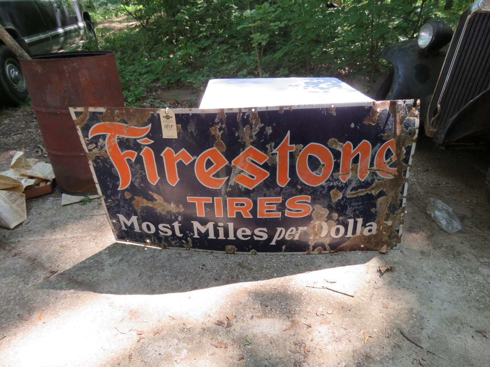 Firestone Single Sided Porcelain Sign 3x5 ft - Image 1
