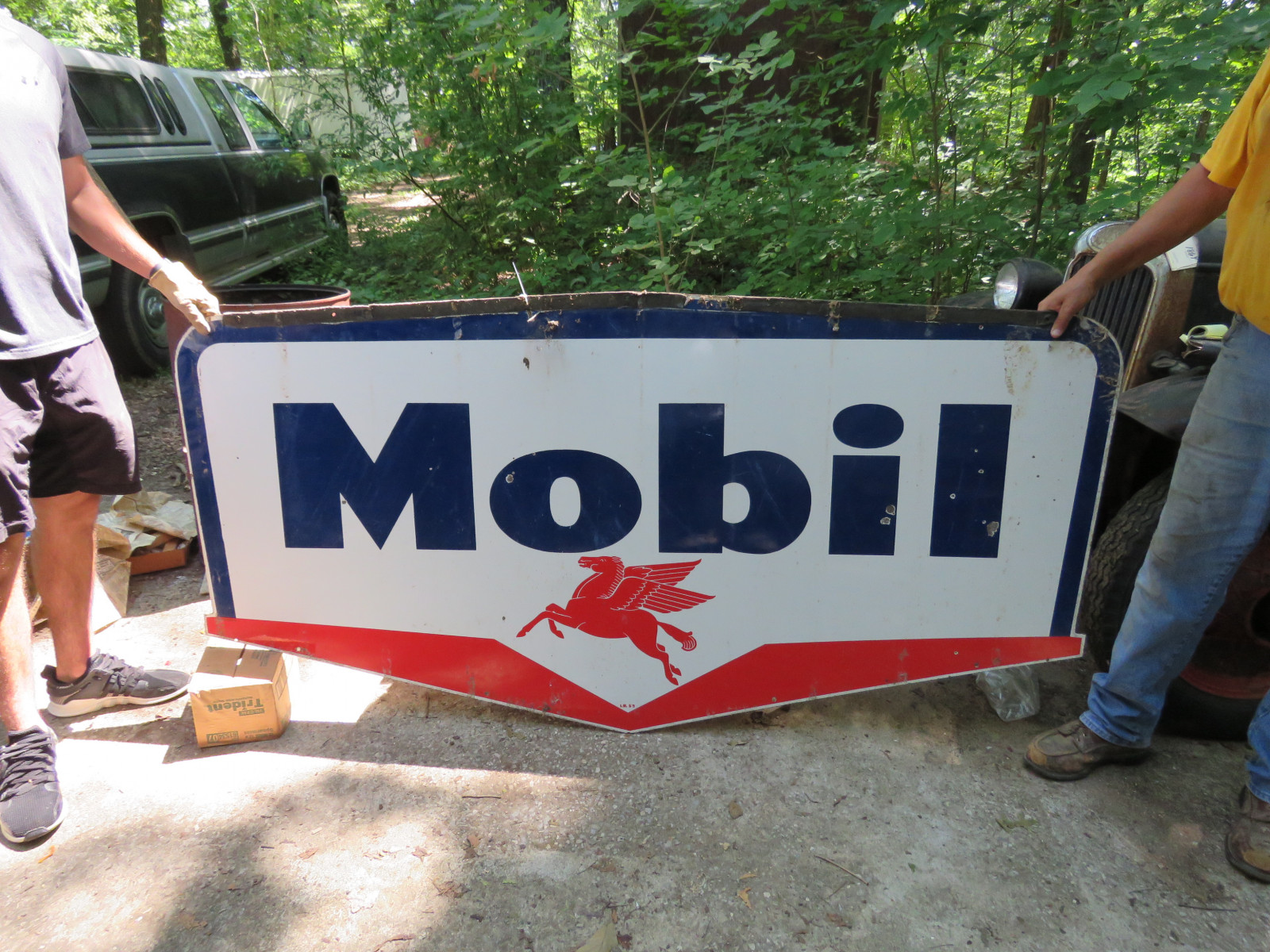 Mobil Double Sided Porcelain Sign 3.5x6 ft - Image 1