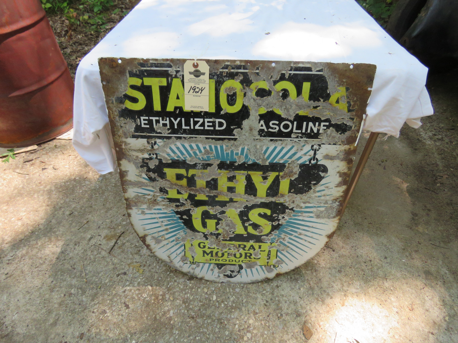 Ethyl Gas DS Porcelain Sign 26x30 inches - Image 1