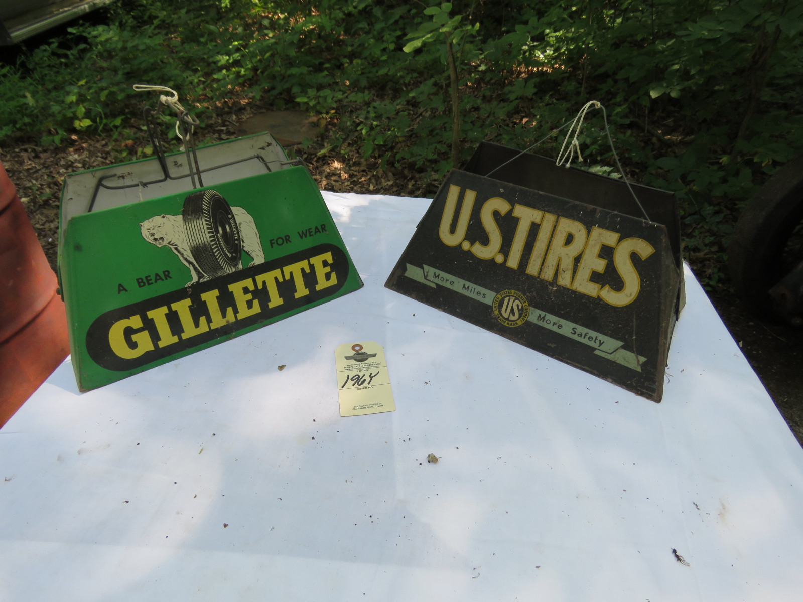 Gillette Tires and US Tires Tire Display Racks- Painted Tin Signs - Image 1