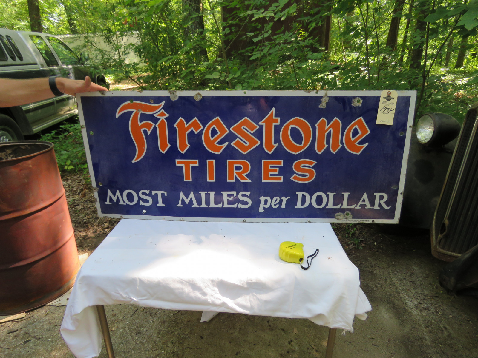 Firestone Single Sided Porcelain Sign 18
