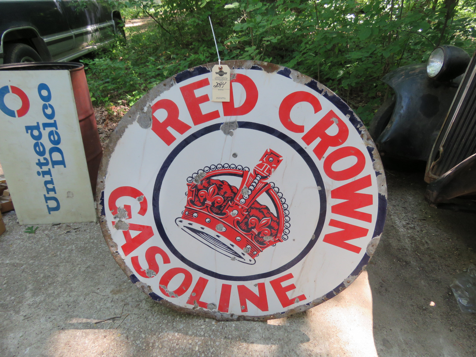 Red Crown SS Porcelain Sign 42 inch Round - Image 1