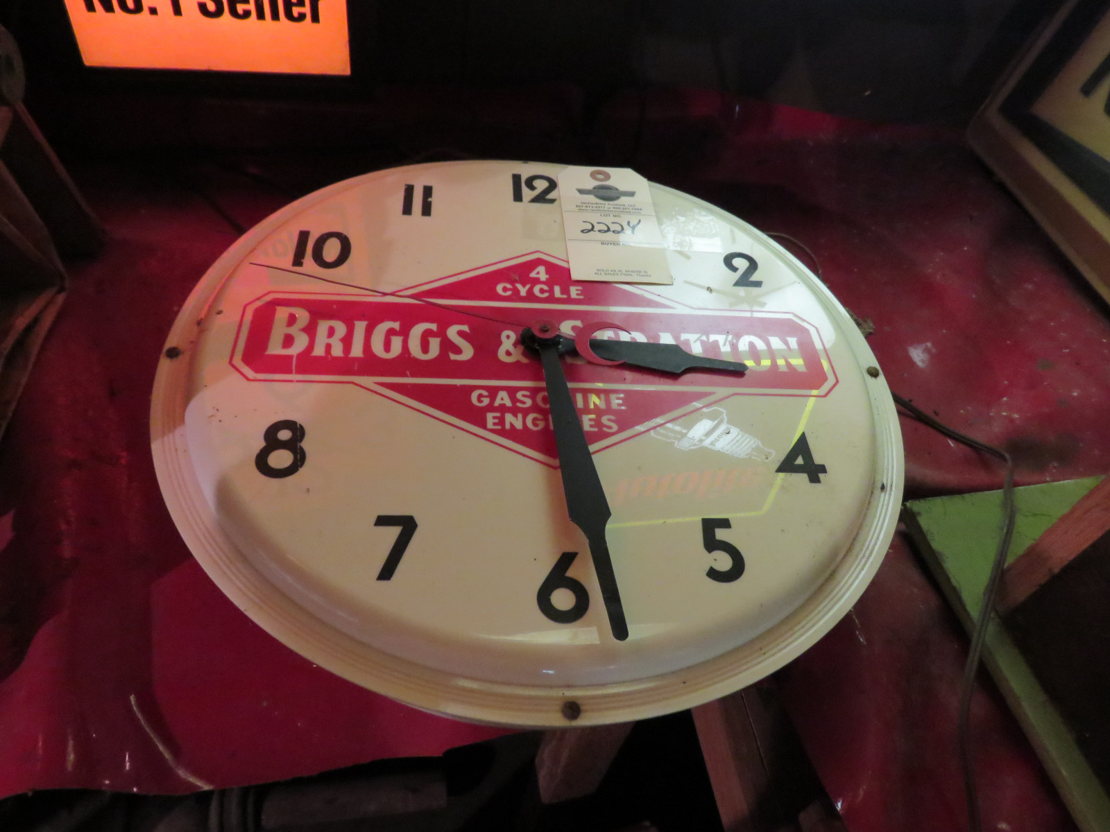 Briggs & Stratton Lighted Advertising Clock- Not Working - Image 1