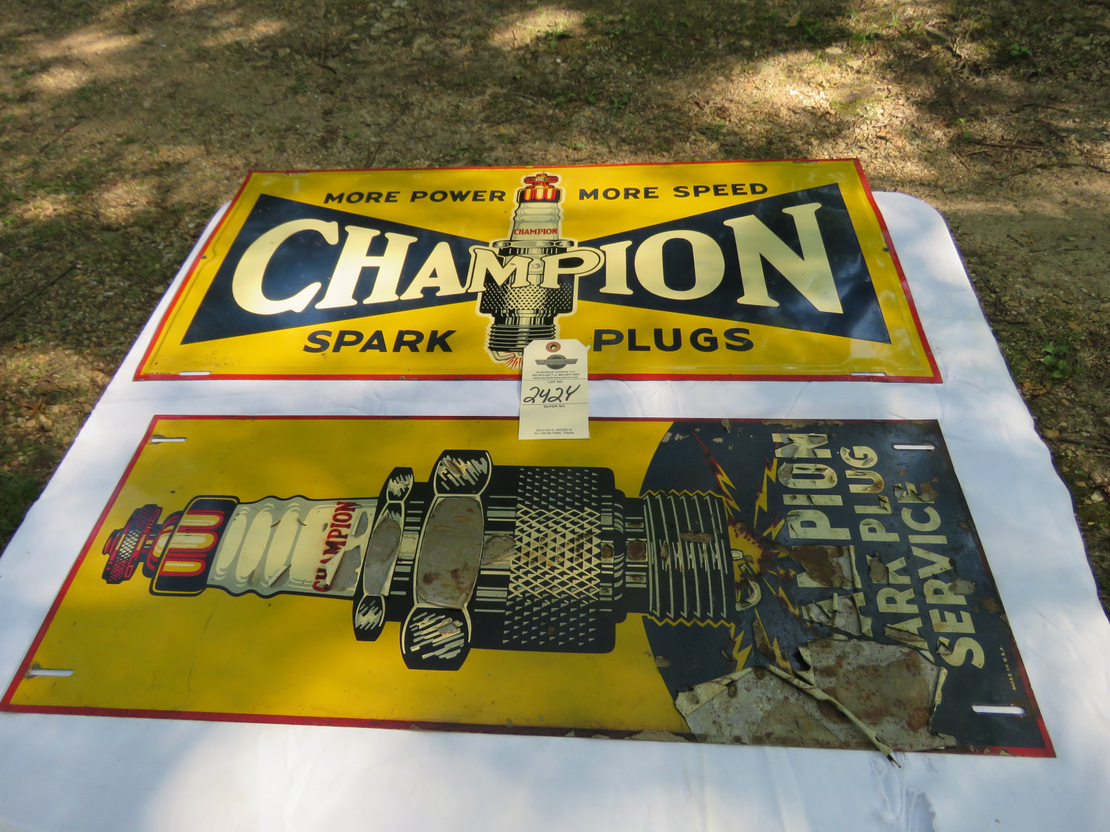 Champion Spark Plugs Painted Tin Sign Group 12x26 inches - Image 1