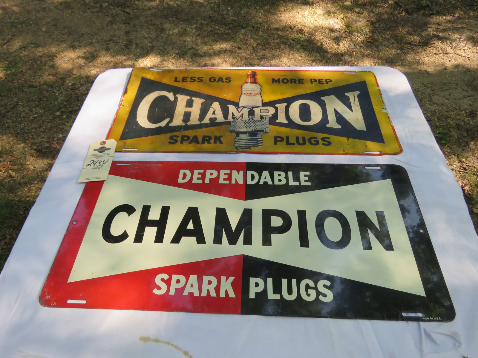 2- Champion Spark Plugs Painted Tin Signs 12x26 inches SS - Image 1