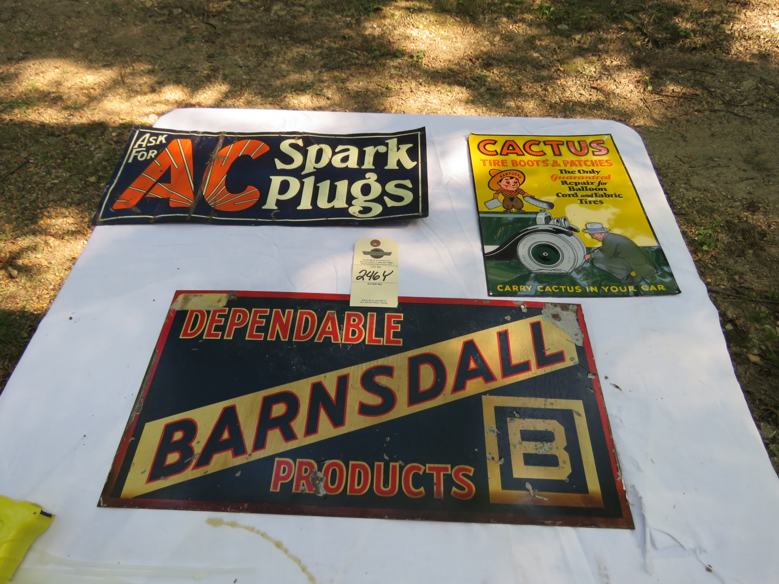 Barnsdall & Catus Tire Patch Sign Group Painted Tin SS - Image 1