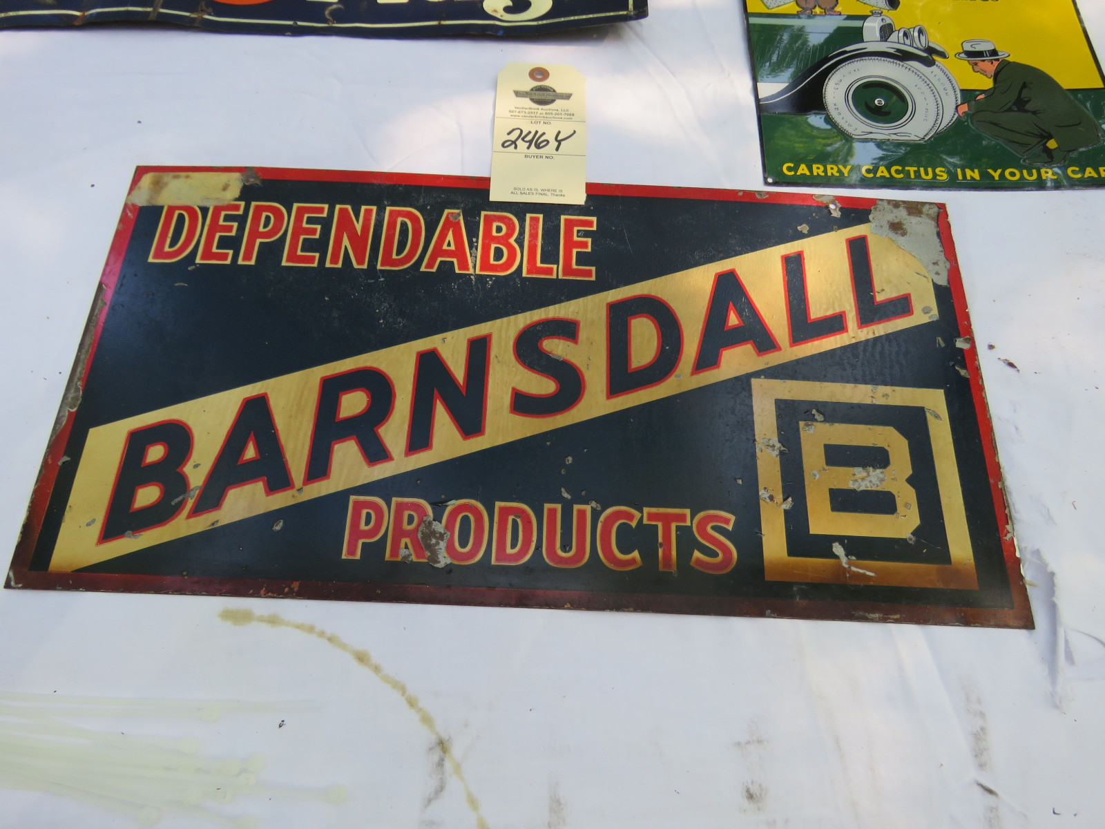 Barnsdall & Catus Tire Patch Sign Group Painted Tin SS - Image 2
