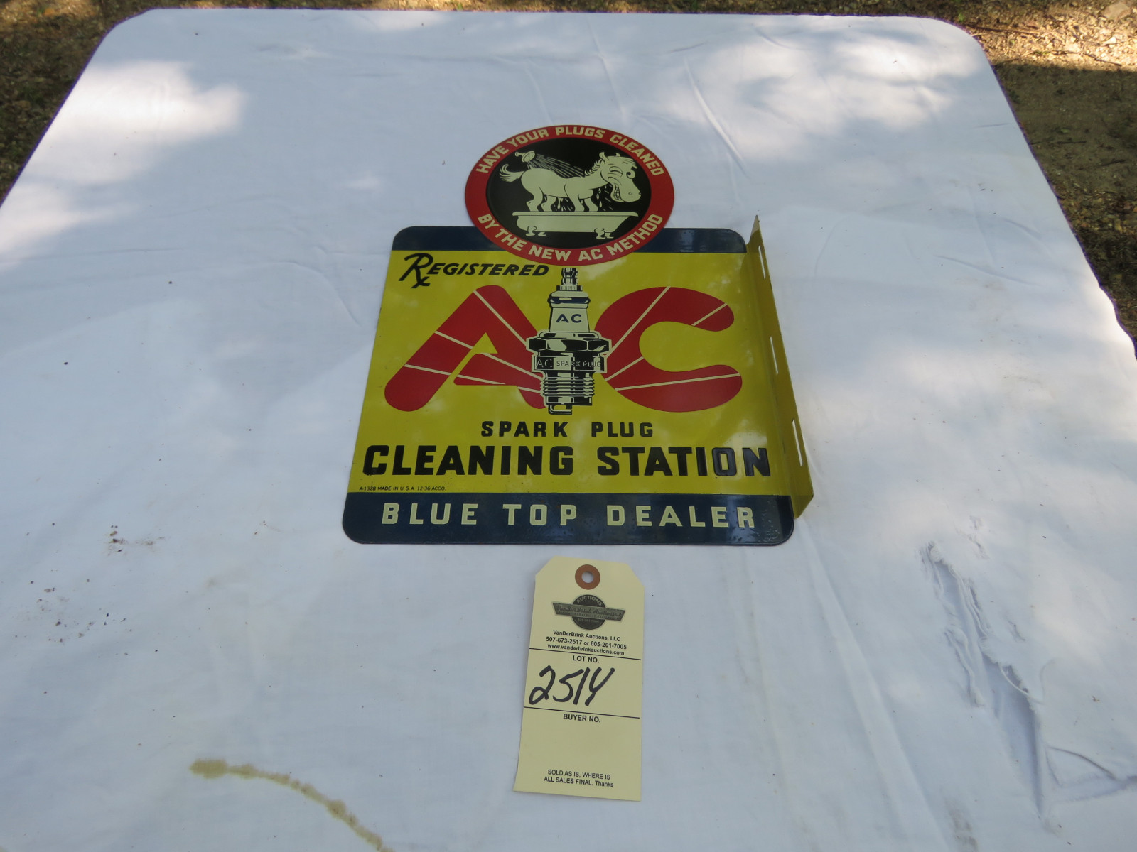 AC Spark Plugs -Plug in the Tub Painted Tin Display - Image 1