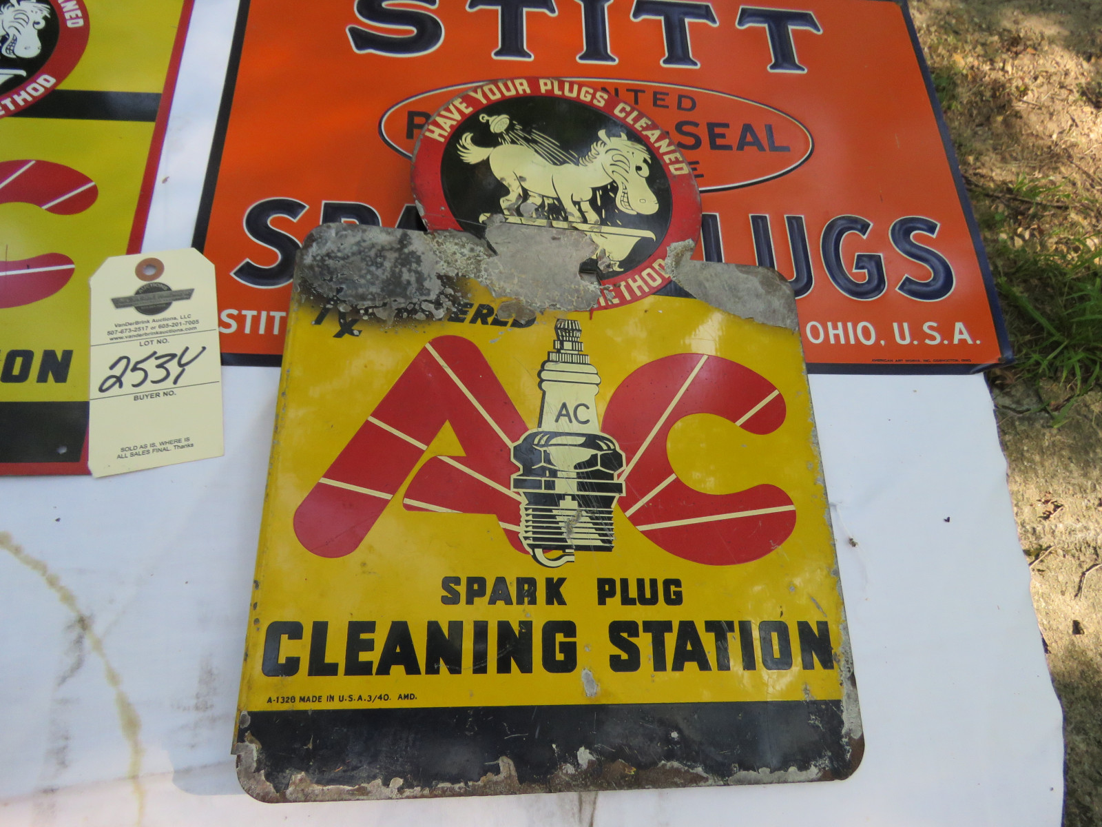 Vintage Painted Tin SS Spark Plug Sign Grouping - Image 5