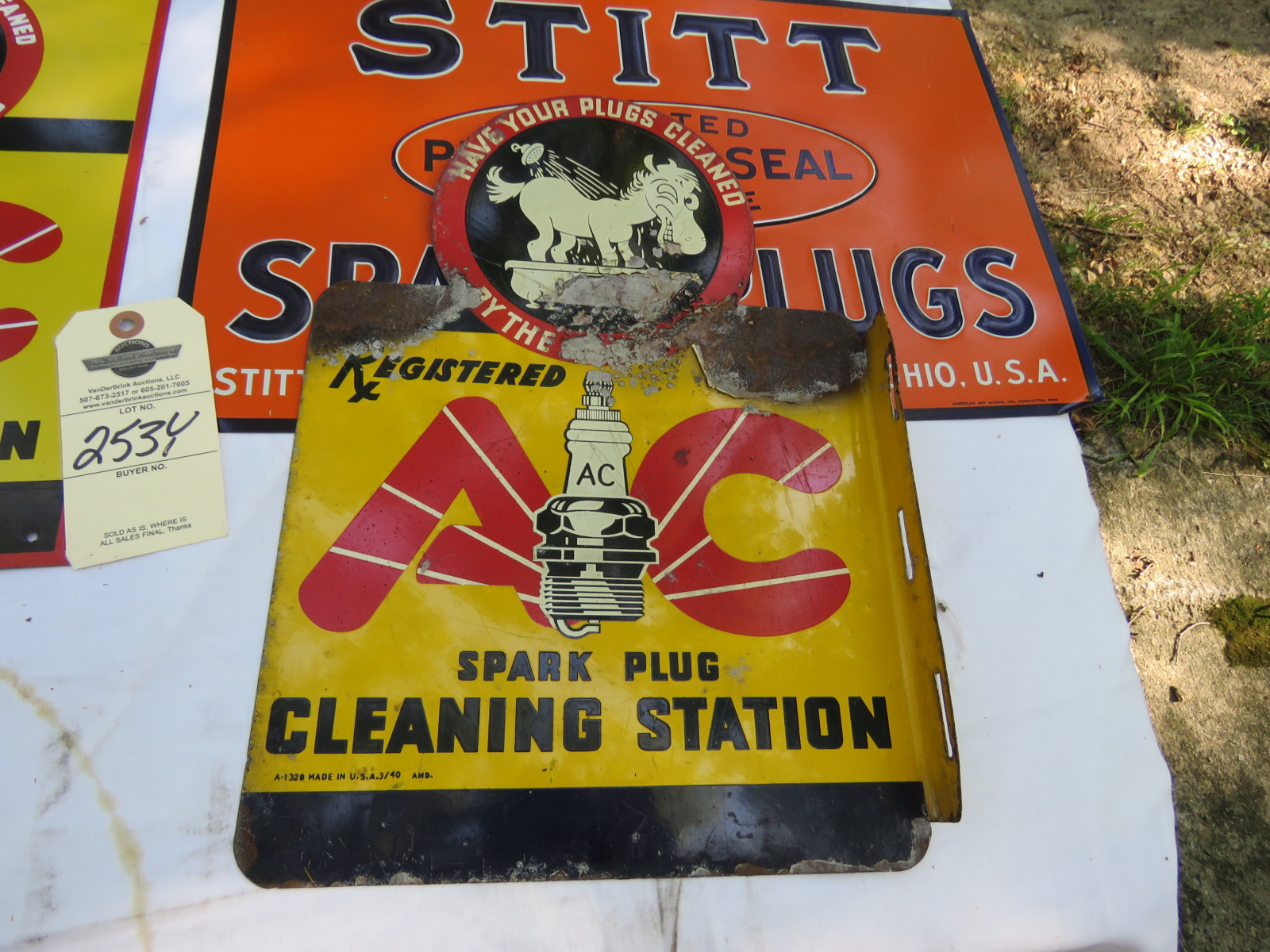 Vintage Painted Tin SS Spark Plug Sign Grouping - Image 6