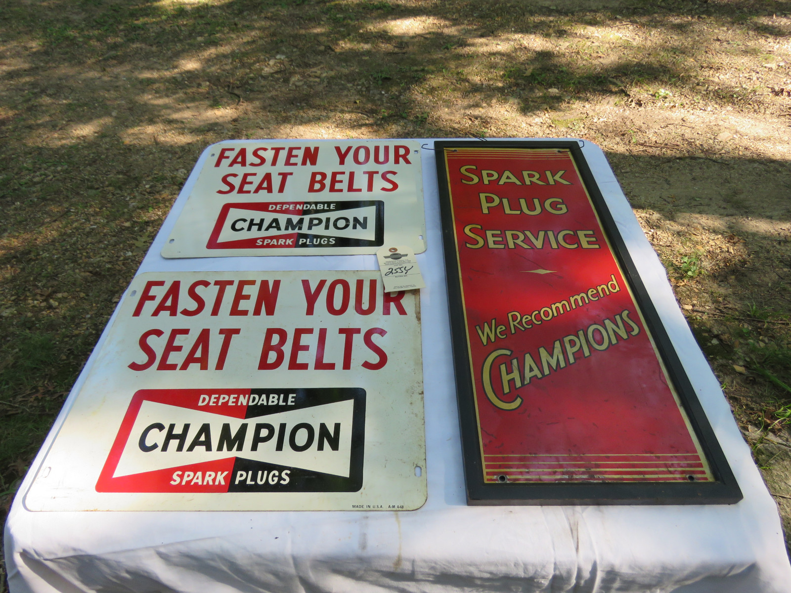 Vintage Champion Painted tin Sign Grouping - Image 1