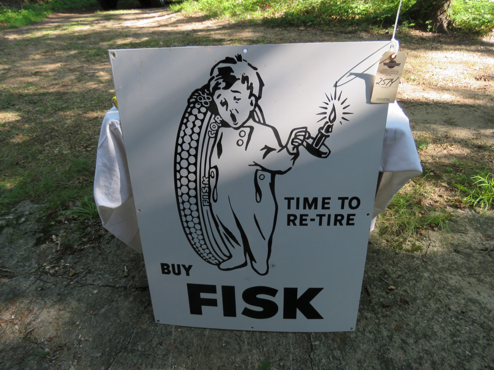 RARE NOS Fisk Tires SS Porcelain Sign 29X36 inches - Image 1