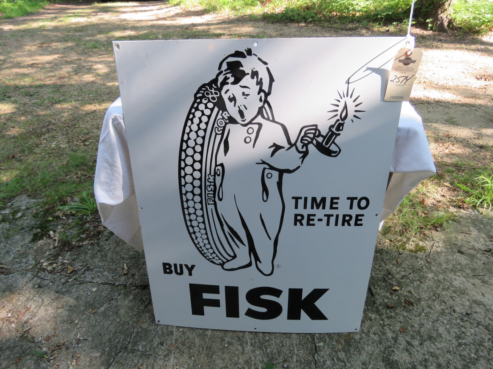 RARE NOS Fisk Tires SS Porcelain Sign 29X36 inches - Image 2
