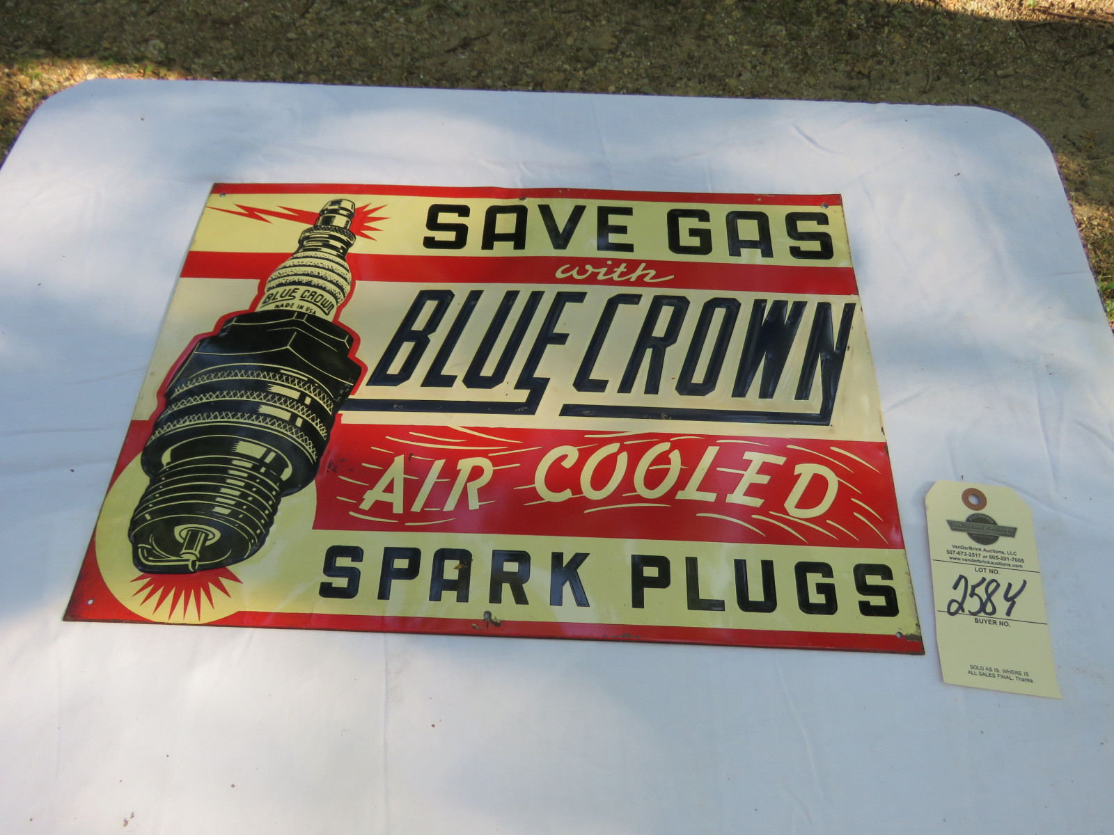Blue Crown Air Cooled Painted Tin SS Sign - Image 1