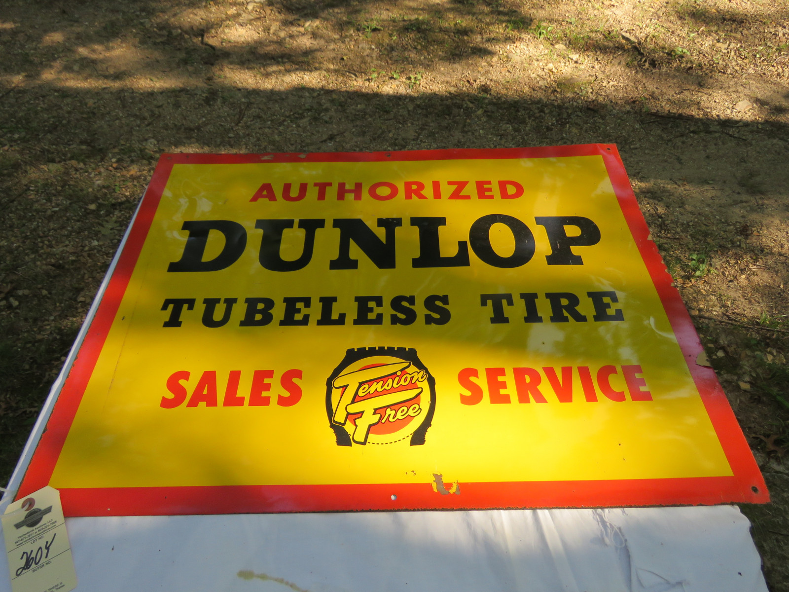 Dunlap Tires SS Painted Tin Sign 26X34 inches - Image 1