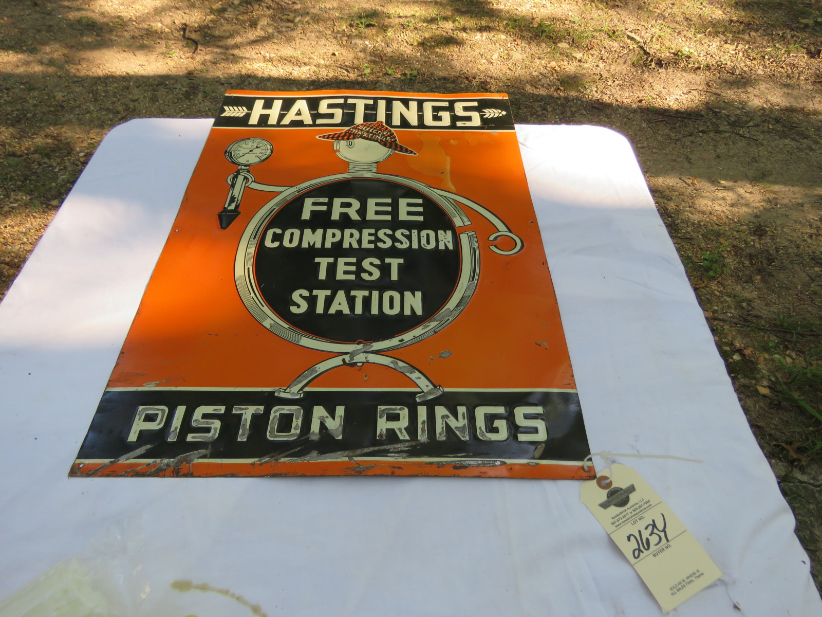 Hastings Piston Rings Painted Tin Sign 27.5X20 inches - Image 1