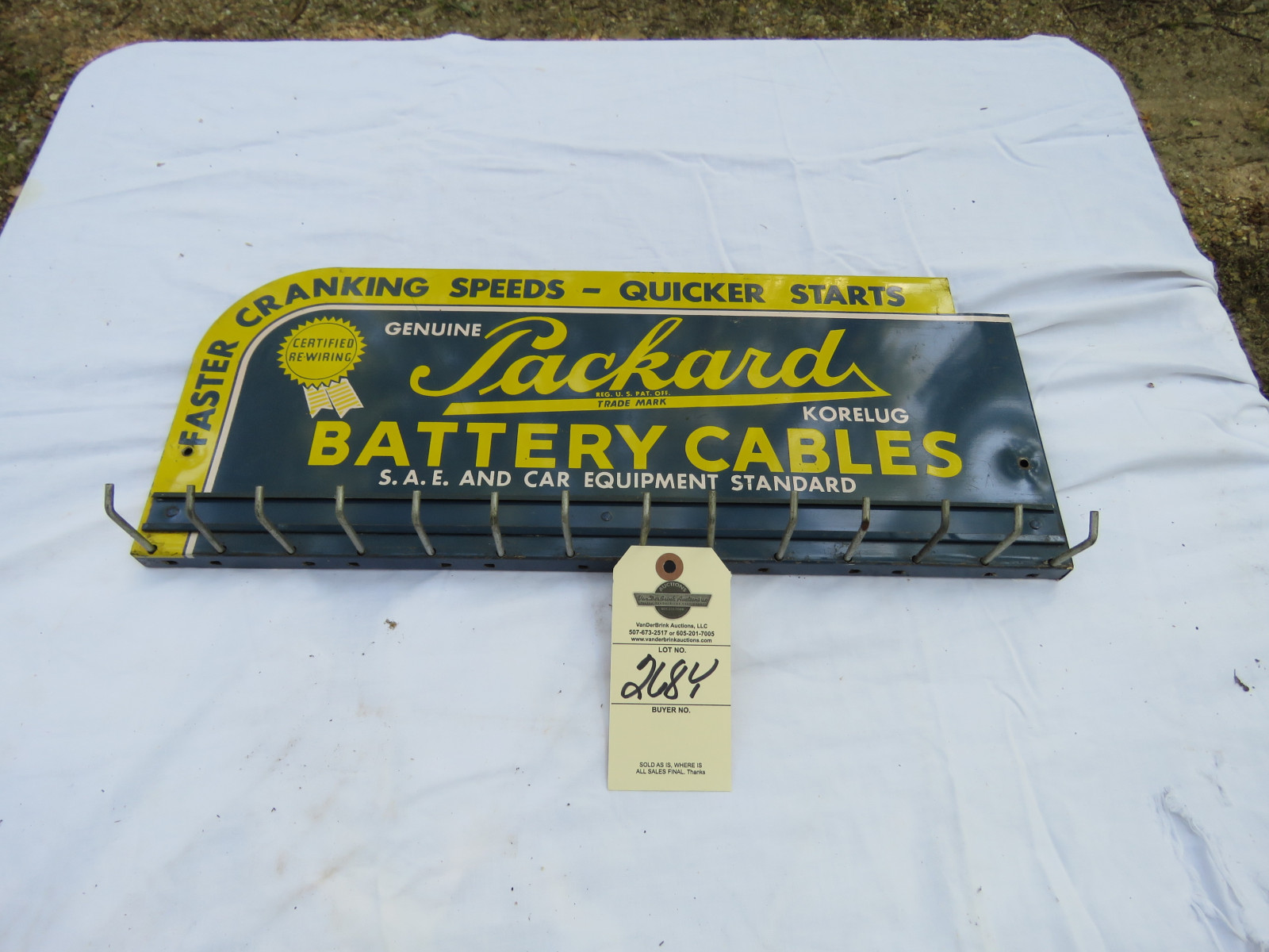 Packard Battery Cable Painted Tin Rack - Image 1
