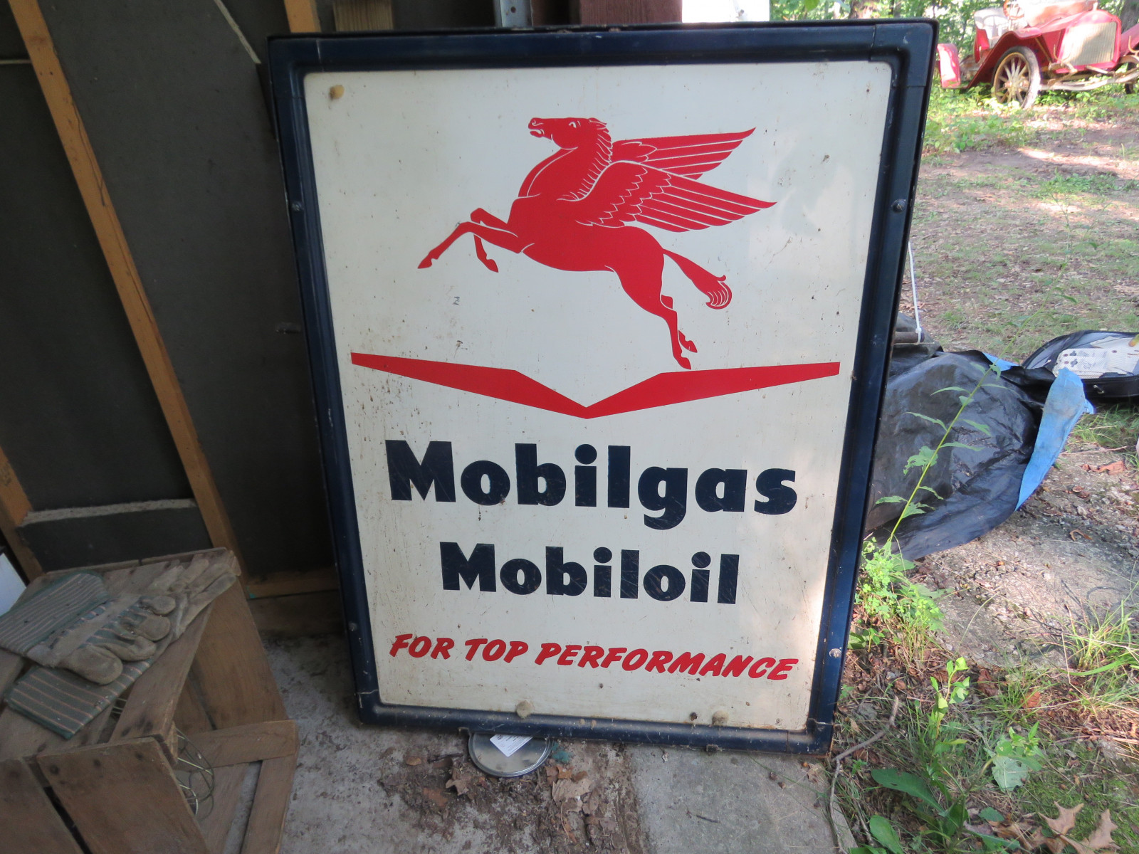 Mobil Gas painted Tin Sign 35X46 inches Displa Sign - Image 1