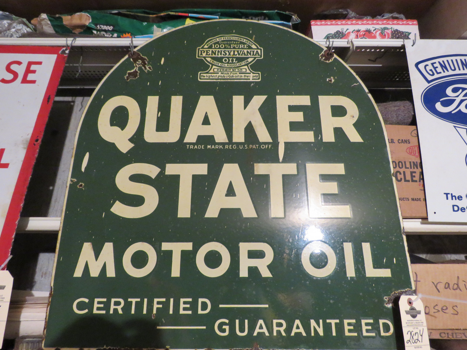 Quaker State DS Porcelain Sign 29x30 inches - Image 1
