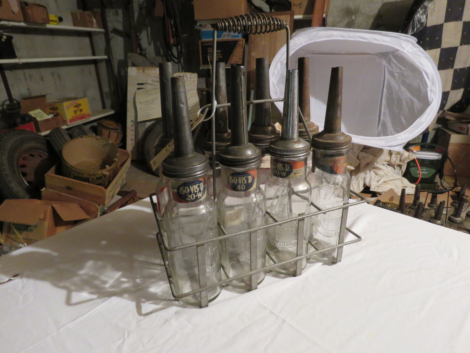 Vintage ISO VIS Glass Oil Bottle Grouping and Rack - Image 1