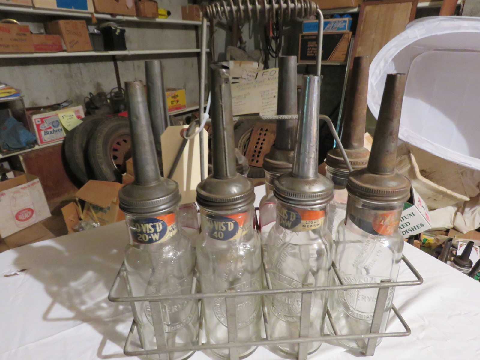 Vintage ISO VIS Glass Oil Bottle Grouping and Rack - Image 3