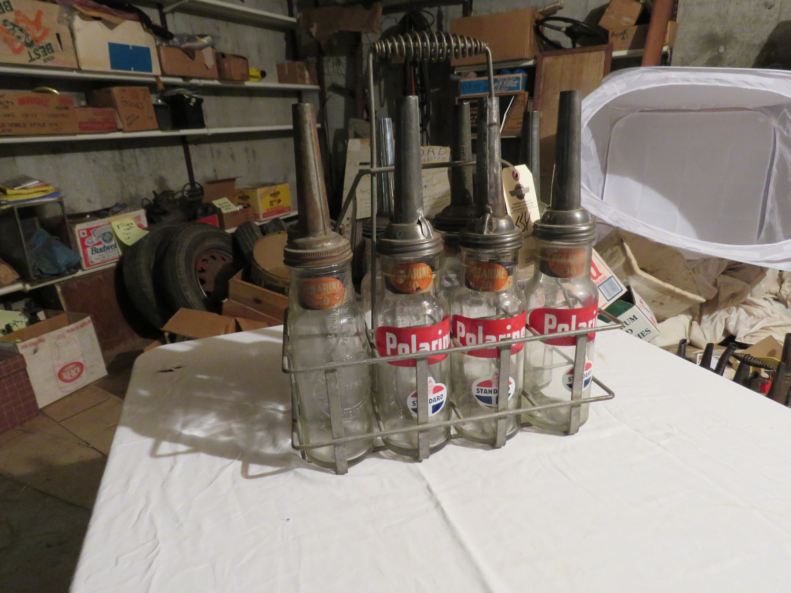 Vintage ISO VIS Glass Oil Bottle Grouping and Rack - Image 4