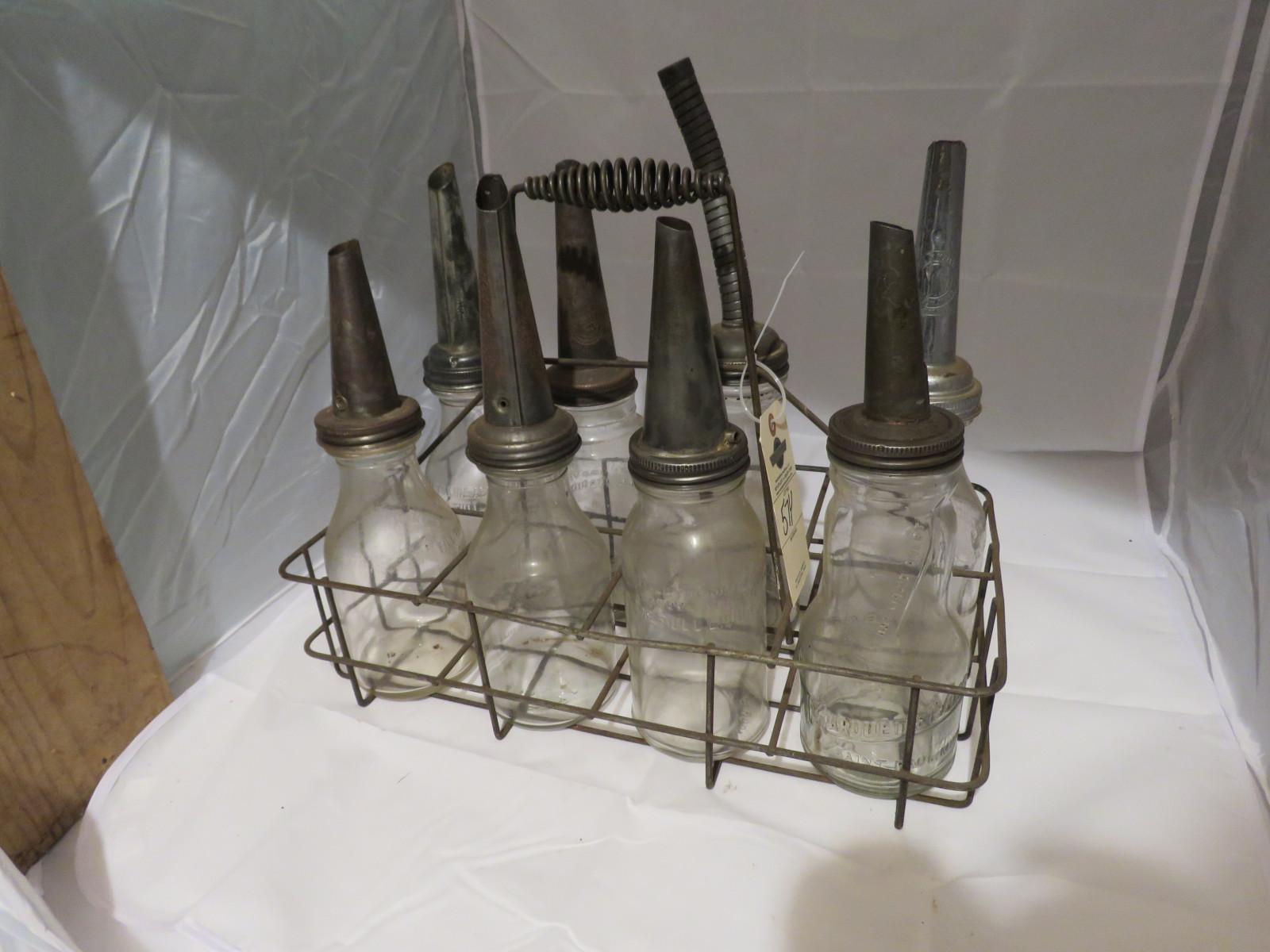 Vintage Glass Oil Bottles and Rack - Image 1