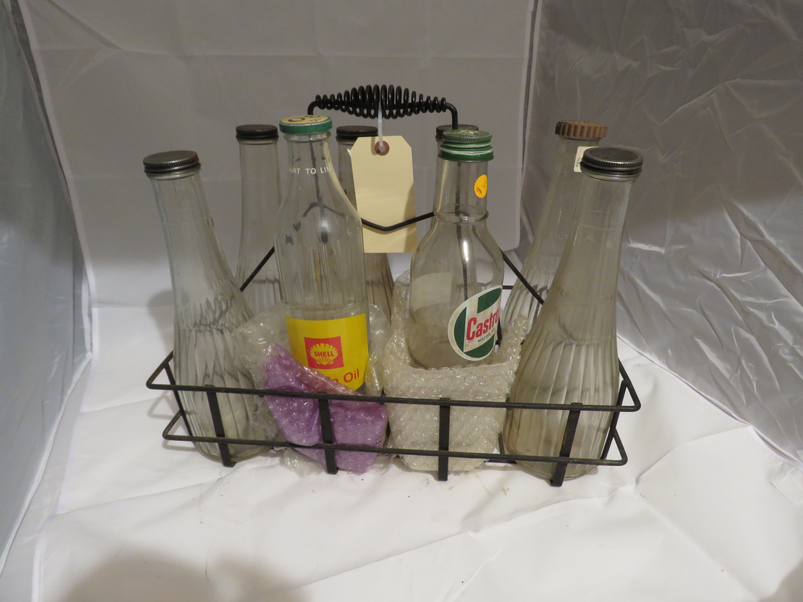 Vintage Glass Oil Bottles and Rack - Image 2