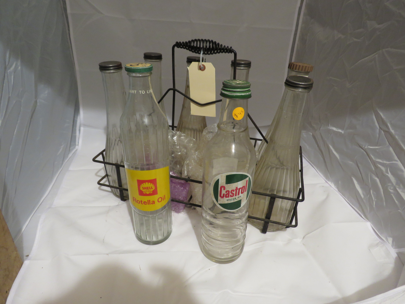 Vintage Glass Oil Bottles and Rack - Image 3