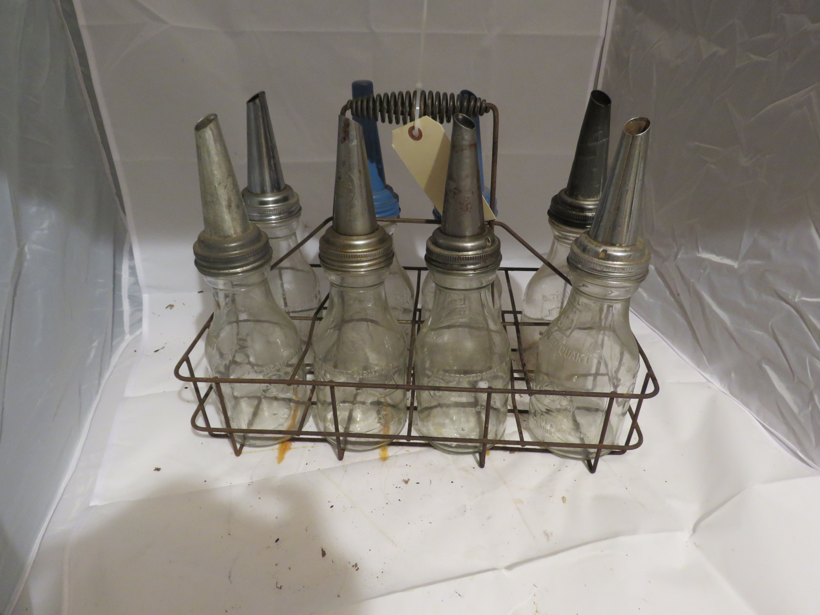 RARE Case of Glass Brookins Oil Bottles and Rack - Image 3