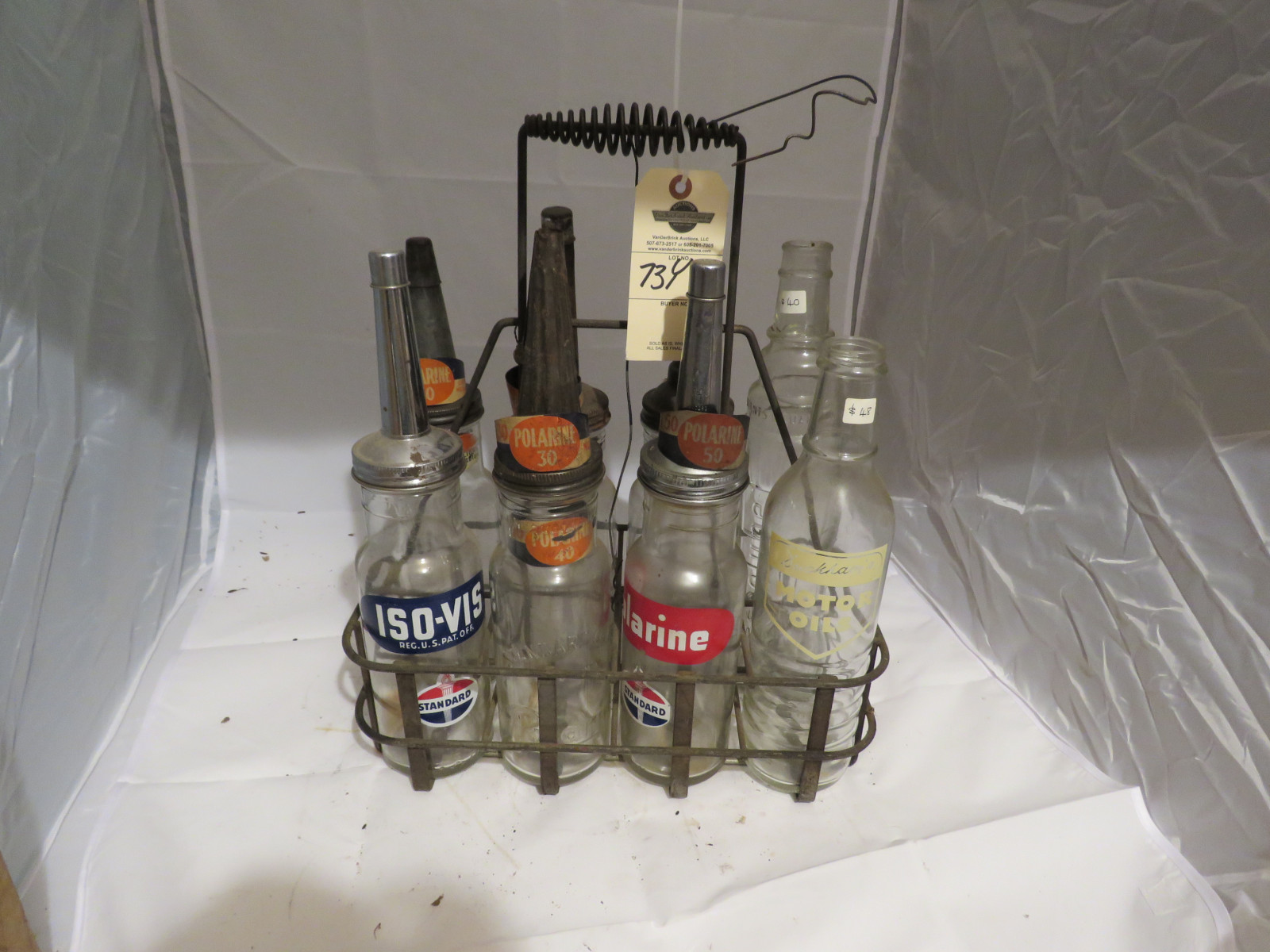 Mixed Glass Oil Bottles and Rack - Image 1