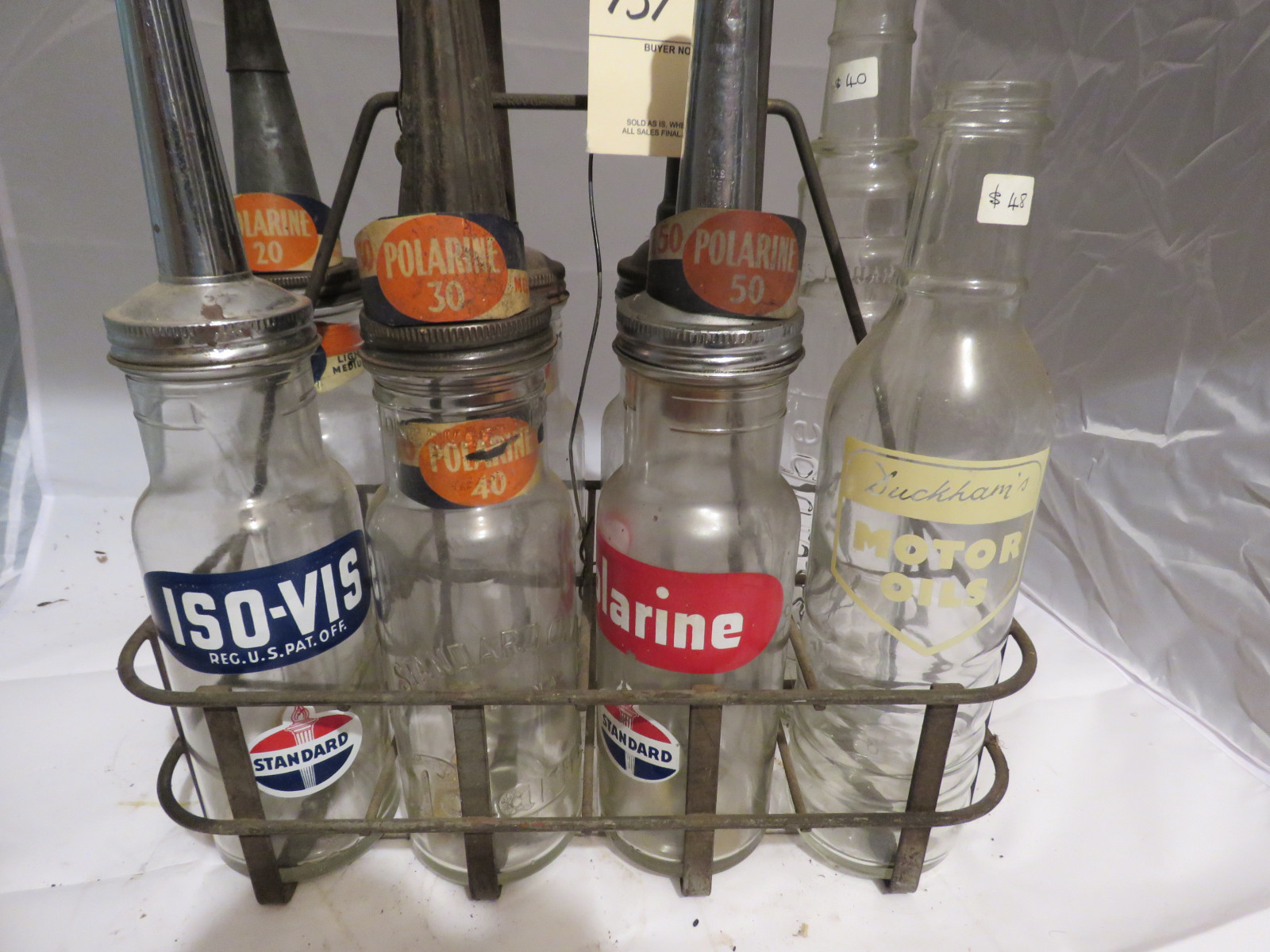 Mixed Glass Oil Bottles and Rack - Image 2