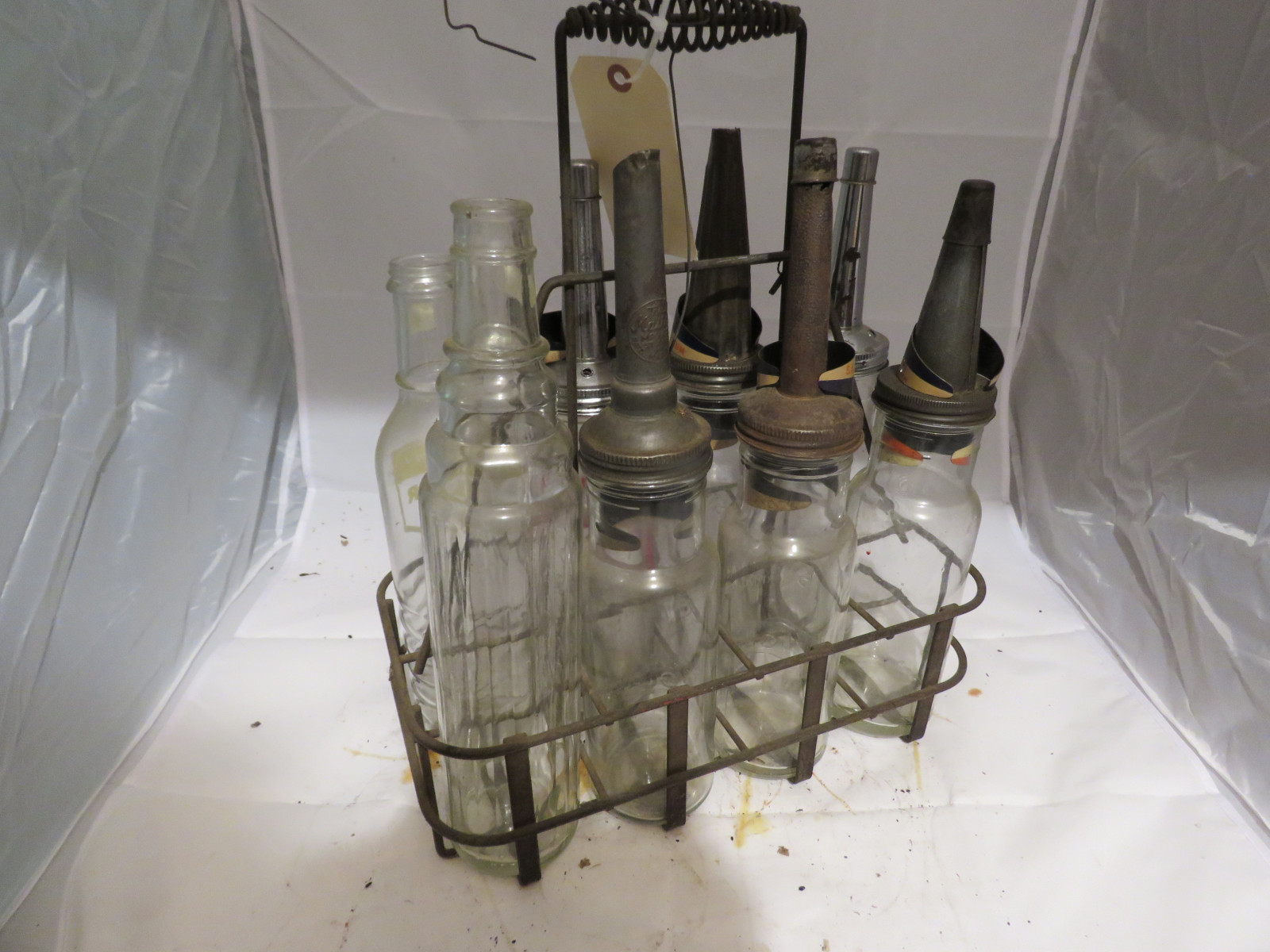 Mixed Glass Oil Bottles and Rack - Image 3