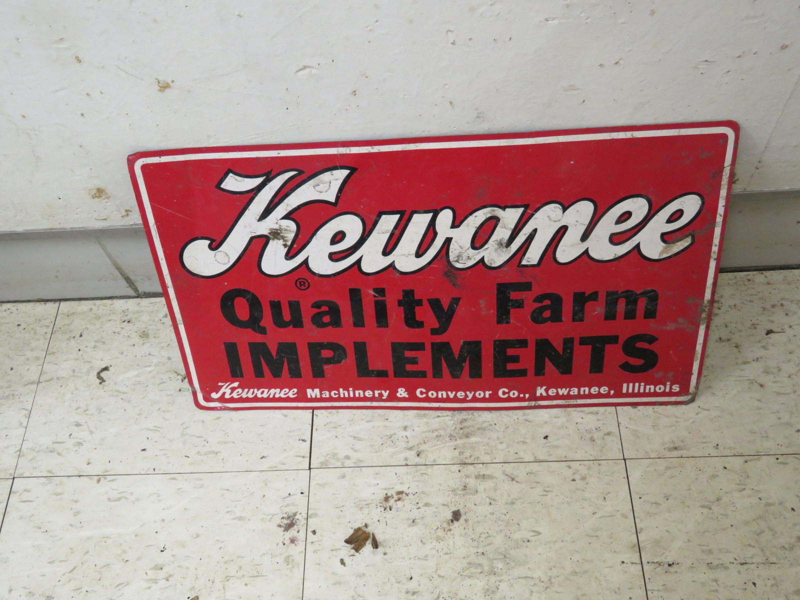 Kewanee Single Sided Pressed Tin Sign 12x21 inches - Image 1
