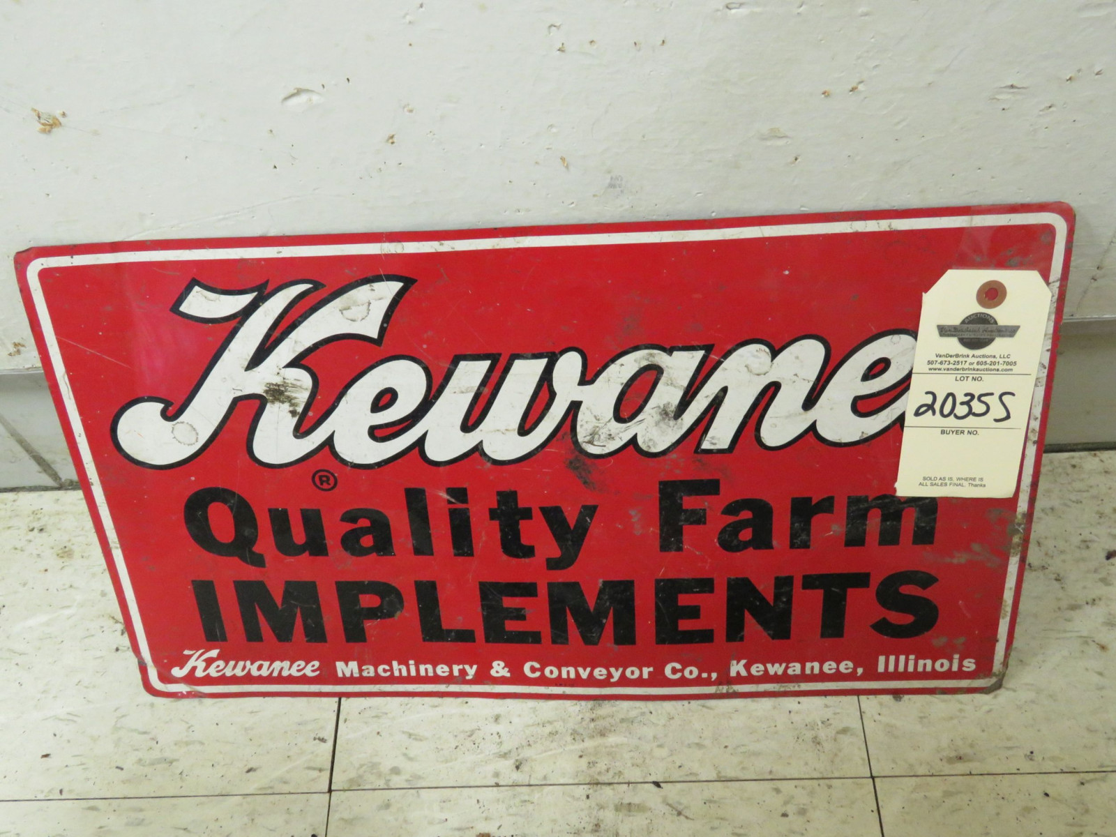 Kewanee Single Sided Pressed Tin Sign 12x21 inches - Image 2